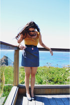 mustard Lollipops bracelet - gold Target dress - navy Raybans sunglasses