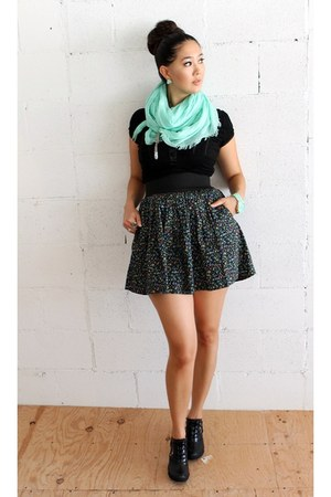 aquamarine donni charm scarf - black booties Burnetie boots