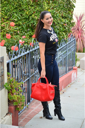 red tote Fossil bag - black leather DSW boots