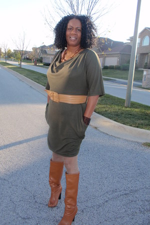 tan belt belt - bronze boots boots - olive green dress dress