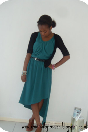 teal Marks and Spencers dress - black Mums old cardi cardigan