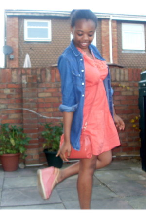coral Matalan dress - blue Jane Norman jacket - salmon new look bag