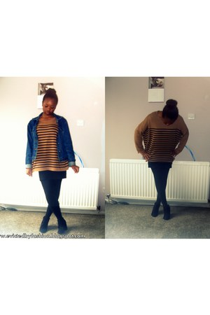 brown H&M jumper - black basic skirt - black F&F wedges