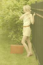 vintage bag - diy thrifted vintage shorts - lingerie thrifted vintage blouse