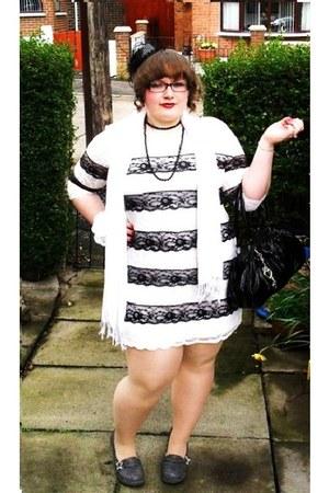 black bw lace dress River Island dress - white M&S scarf - black TUK heels