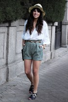 Zara shirt - & other stories hat - Zara shorts - Topshop sandals