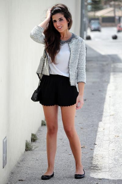 Zara jacket - Zara bag - pull&bear shorts - Zara top - Zara flats