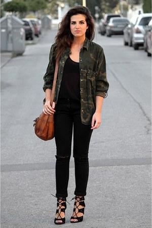 Zara top - Zara shirt - Urban Outfitters bag - Primark pants - Zara heels