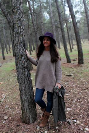 Zara jeans - pull&bear boots - Zara hat - H&M jacket - Zara jumper