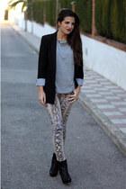 Zara boots - Zara blazer - Zara t-shirt - Zara pants