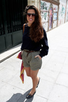 Zara scarf - pull&bear shoes - Zara shorts - Zara sunglasses