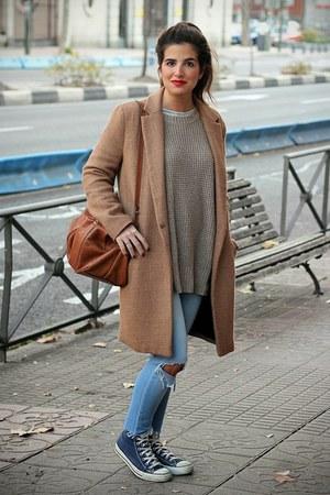Zara coat - pull&bear jeans - Zara sweater - Zara bag - Converse sneakers