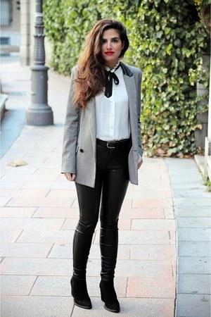 Zara boots - Mango blazer - Zara pants - Zara blouse