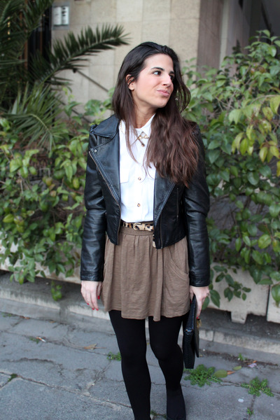 H&M jacket - H&M shirt - Dayaday bag - Zara skirt - asos belt