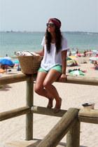 Zara sunglasses - vintage scarf - Oysho bag - pull&bear shorts - Zara t-shirt