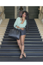 gray lace shorts H&M shorts - black H&M bag - dark gray shiny Zara heels
