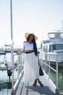 Black-tote-michael-kors-bag-white-maxi-estelle-sunburst-skirt