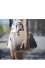 Periwinkle-jersey-h-m-dress-tan-tote-mango-bag-neutral-strappy-asos-pumps