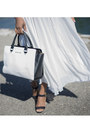 Black-tote-michael-kors-bag-white-maxi-estelle-sunburst-skirt