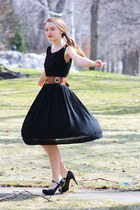 black Wallflower Vintage dress - dark brown thrifted vintage belt - black Victor