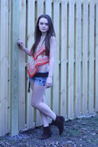 dark brown Nine West boots - red Wallflower Vintage shirt - blue DIY shorts - da