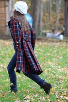 Wallflower Vintage coat - dark brown Nine West boots - navy Levi jeans