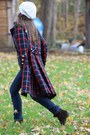 Dark-brown-nine-west-boots-wallflower-vintage-coat-navy-levi-jeans