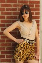 camel leopard print Wallflower Vintage shorts