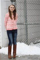 pink Wallflower Vintage cardigan - navy jeans - brown etienne aigner boots