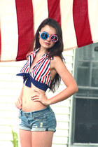 vintage halter WallflowerVintagecom top - DIY shorts - Novelty sunglasses