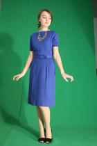 blue 1960s Wallflower Vintage dress - silver The Dress Shop necklace