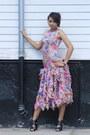 Black-shoes-gold-1970s-organza-wallflower-vintage-dress