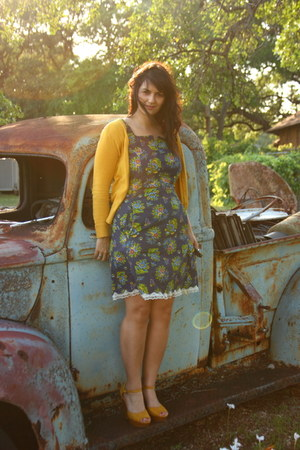navy handmade dress - mustard Mossimo cardigan - mustard Lauren Conrad wedges