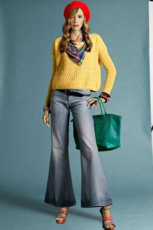 acne jeans - carrot orange Tjallamalla hat - yellow dagmar sweater