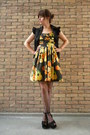 Black-flatforms-topshop-shoes-yellow-orange-print-primark-dress-black-should
