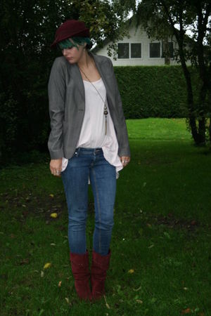 gray Superstar blazer - red vintage hat - red Dolcis boots - blue H&M jeans - pi