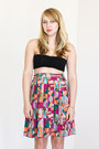 Vintage-skirt-black-platforms-shoes-black-bandeau-american-apparel-top