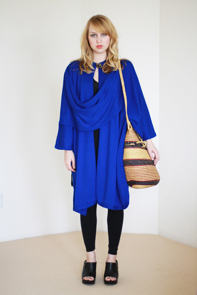 blue draped knit vintage cape