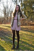 dark khaki LYLIF necklace - pink Forever 21 dress - camel H&M jacket