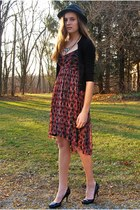 brick red free people dress - black Marshalls hat - black J Crew cardigan