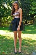 black delias dress - black Tahari heels - bubble gum gifted necklace