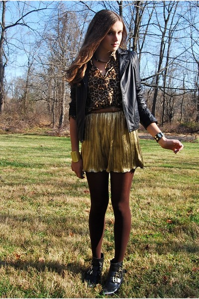 gold lame Forever 21 skirt - black buckle DV for Target boots