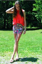 ivory My Hot Shoes wedges - black Sheinside skirt - hot pink romwe blouse