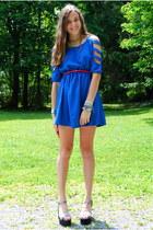 blue romwe dress - hot pink Gap belt - lime green Marcella Leone necklace