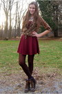 Dark-brown-call-it-spring-boots-crimson-topshop-dress-brown-old-navy-shirt