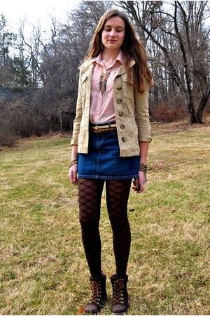 dark brown Call it Spring boots - nude H&M jacket - dark brown HUE tights