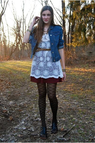 crimson Topshop dress - ivory tunic lace American Rag dress