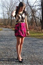 magenta Loft skirt - dark gray Urban Outfitters shirt - black Ellie Tahari pumps