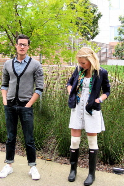sky blue J Crew shirt - periwinkle Urban Outfitters dress - navy rugby blazer