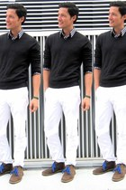 white white chinos J Crew pants - black grey sweater Gap sweater